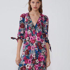 Zara Tropical Floral Midi Dress